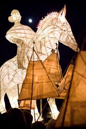 de verlichte Sint Maarten parade