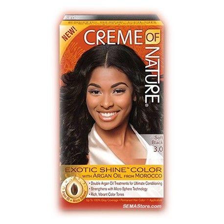"""Coloration cheveux existe en différents coloris. Avec de l'Huile d'Argan du Maroc. Cette nouvelle couleur de cheveux de """"Creme of Nature"""" renforce, revitalise et apporte une brillance exotique pour des couleurs riches et durables."""