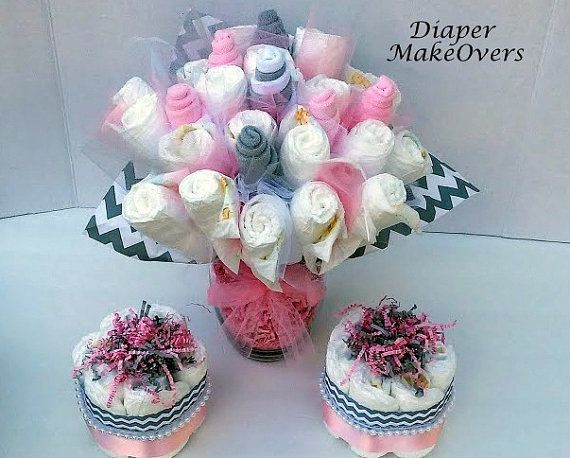 Pink and Gray Chevron -  Baby Shower Centerpiece or Decoration - Diaper Flower Bouquet with Mini Diaper Cakes