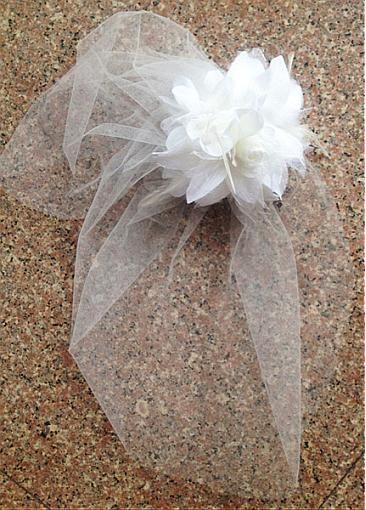 Voile de mariage de cage à oiseaux moderne en tulle blanc de lait avec fleur 3D faite main