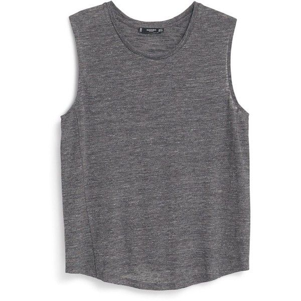 Mango Sleeveless t-shirt found on Polyvore featuring tops, shirts, tanks, tank tops, grey, women, grey top, sleeveless tee shirts, mango tops y shirts & tops