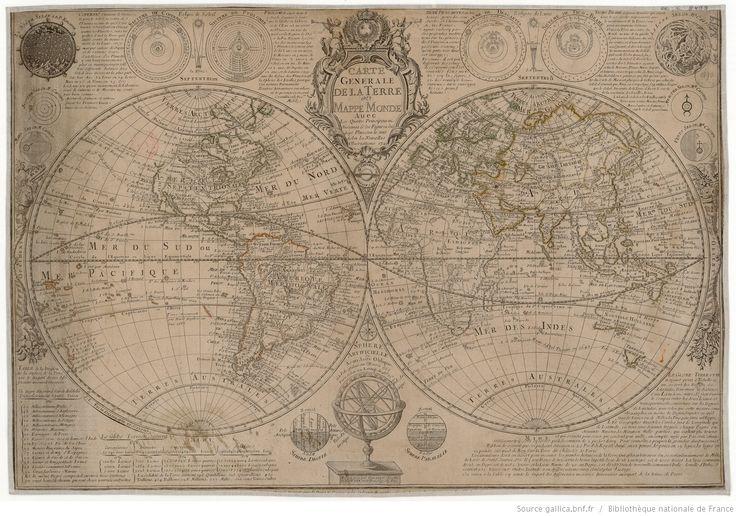 Carte générale de la terre ou mappemonde avec les quatre principaux systèmes et les figures des sept planètes... mis au jour / par G. Danet, ...