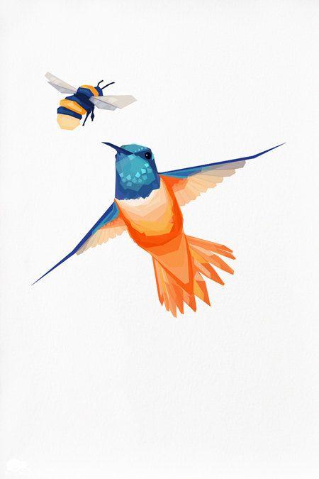 Geometric illustration Hummingbird and Bumblebee door tinykiwiprints