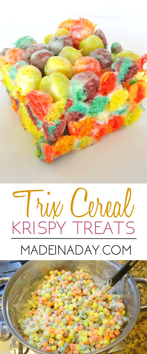 Yummy fun way to change up your krispy treat flavors using Trix cereal,  via @madeinaday