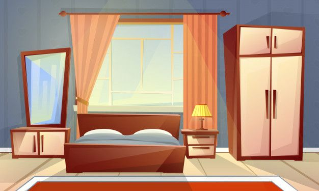 cartoon interior of cozy bedroom with window living room with double bed dresser carpet Free Vector Cozy bedroom Bedroom design Bedroom decor cozy
