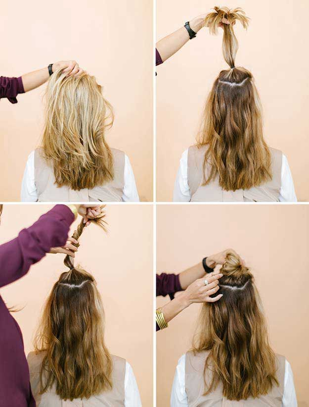 Amazing Half Up Half Down Hairstyles For Long Hair The Half Up Top Knot Easy Step By Step Tut Down Hairstyles For Long Hair Hair Styles Top Knot Hairstyles