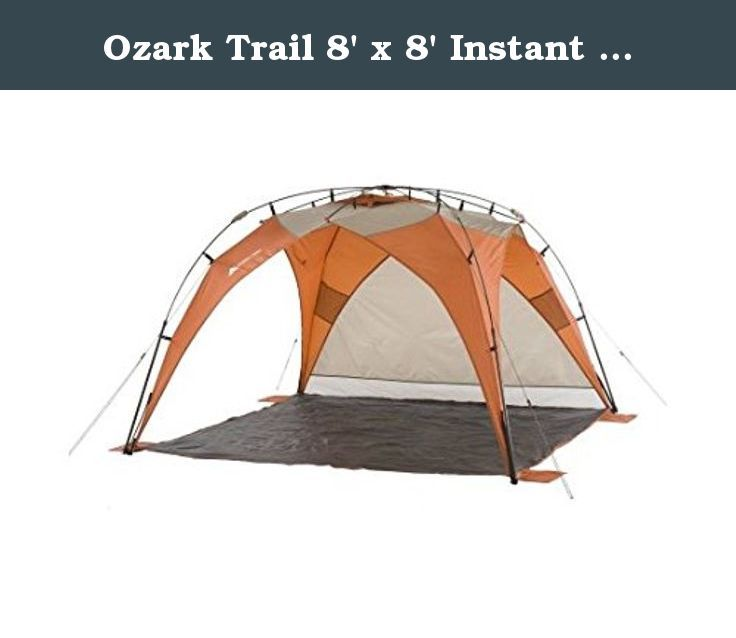 Ozark Trail 8' x 8' Instant Sun Shade, Orange. The Ozark Trail Instant Sun Shade is great for the beach, picnic, or sporting event, anywhere you need portable shade and shelter! The sun shade setups or tears down in under 30 seconds with pre-attached poles. Roof vents help with ventilation to keep you cool and the shade provides UV 50 plus protection. The floor space provides 64 square feet of shade and 59-inch ceiling height provides ample interior space. An additional privacy panel is...