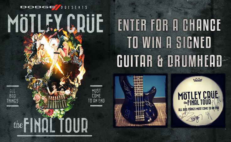 Enter for a chance to win an autographed bass guitar and an autographed drumhead.