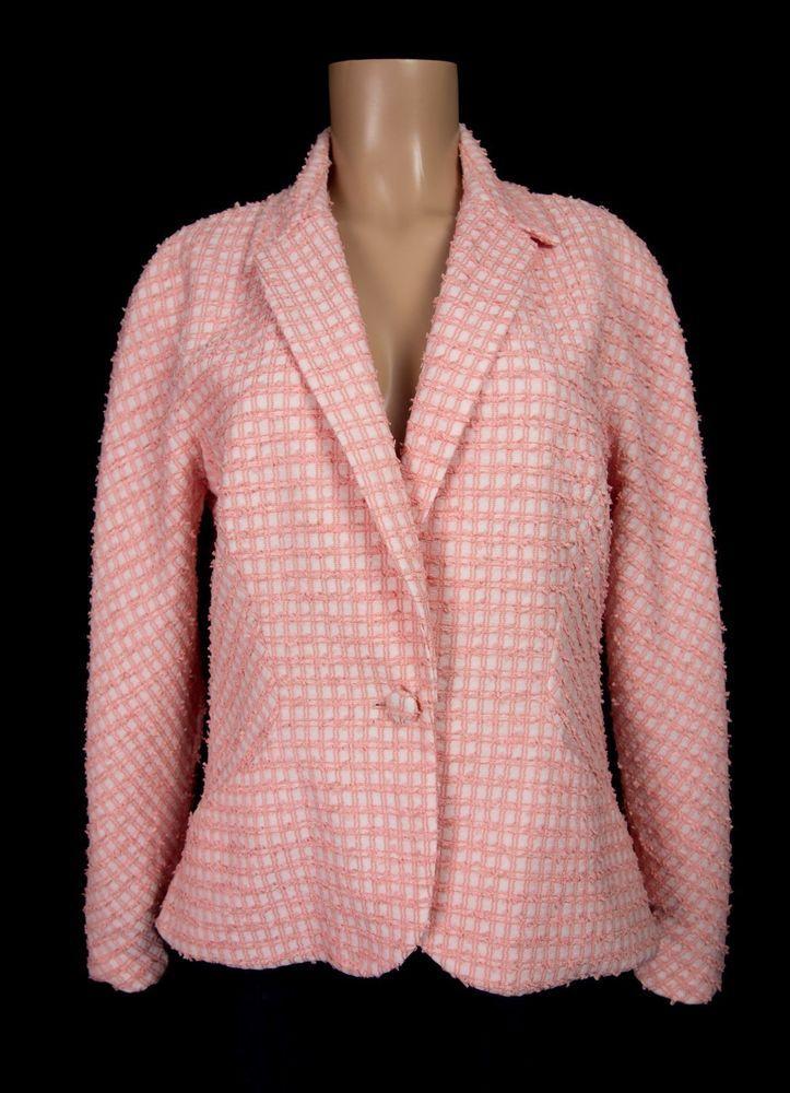 CAROLINA HERRERA Blazer 12 L Salmon Silk Combo Check Fringe Jacket #CarolinaHerrera #Blazer