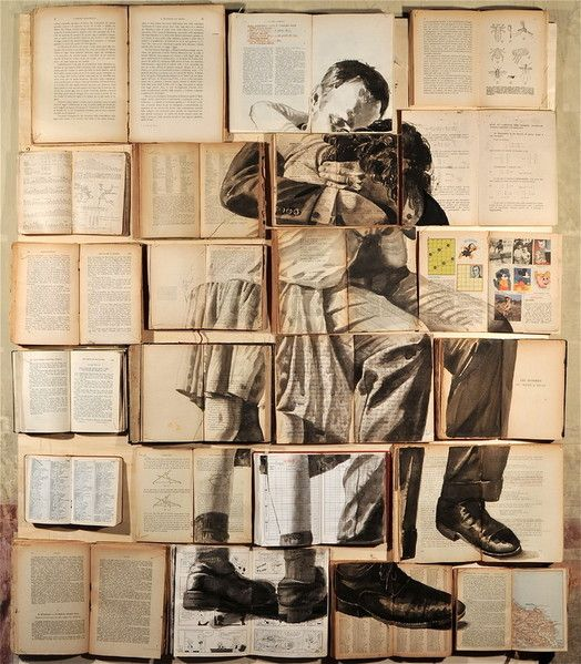 Single images painted in multiple books laid open by each other [7 pics]...