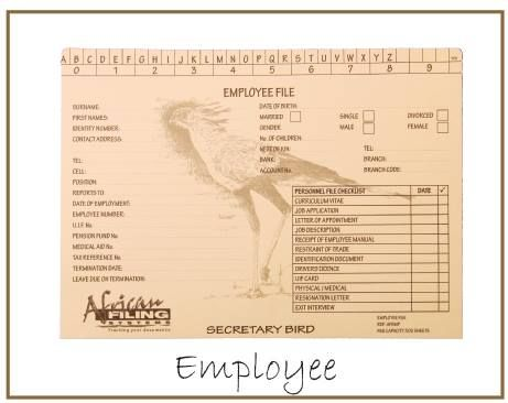 The Employee File is ideal for all Human Resource Managers to keep track of all personnel documents. Our easy labeling and divider cards adds to the unique employee file.  Include records such as CV, letter of appointment, training, leave, certificates, drivers license, remuneration, medical records, disciplinary, exit interview, etc. File capacity of 300 sheets.