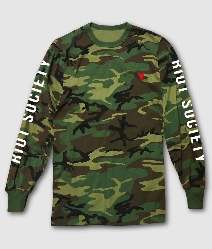 Heart Embroidered Camo Mens Long Sleeve T-Shirt