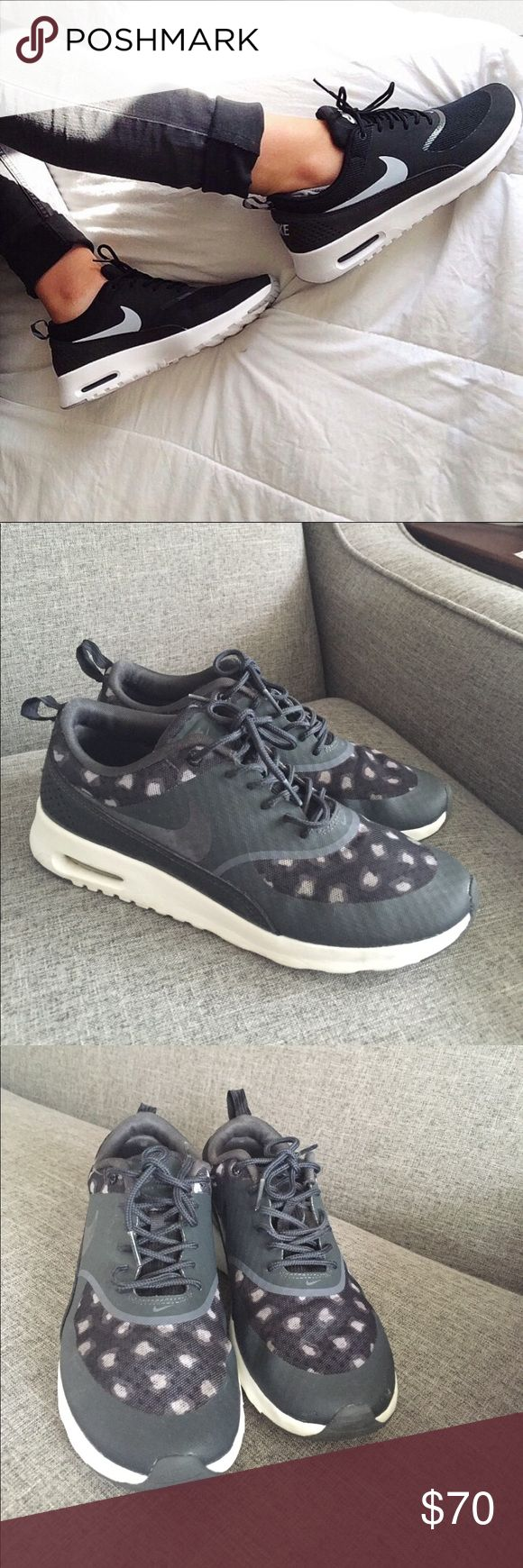 Nike💥Air Max Thea💥cheetah print🐯 Nike's Air Max Thea running shoe in Black/Dark Grey/Anthracite is the epitome of sleek, with strategically placed cheetah print and a black strap of leather , size 9, very good condition 🐯🐯🐯 Nike Shoes Athletic Shoes