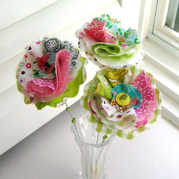 Fabric Scrap Flower Bouquet, use to hot glue on top of jars such....