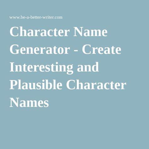 how to create a name generator