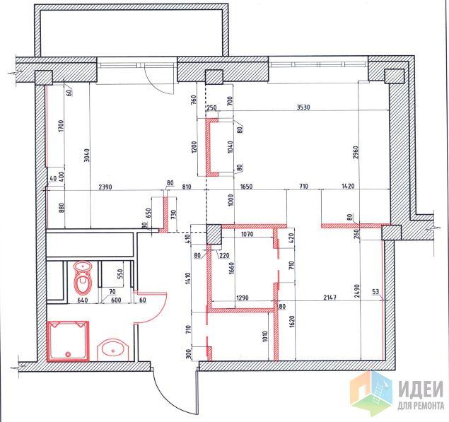 Из однушки - mini двушка, или Студия 38 м2. Спальня без окна
