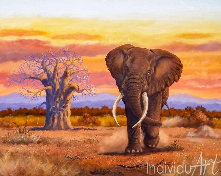 "African Elephant and Baobab Tree Oil Painting Two Majesties both the Elephant and Baobab Tree. Powerful. Power Stands Still.  A magnificent oil painting Painting Size: 77 x 62 cm | 30 x 24"" Media: Oil on canvas  #art #arty #artist #artlovers #artsy   #fin #fineartist #Africanart #oilpainting #painting  #artgallery #beautiful  #wildlife #wildlifeplanet #wildlifephotography #wildanimals #bigfive #Elephant"