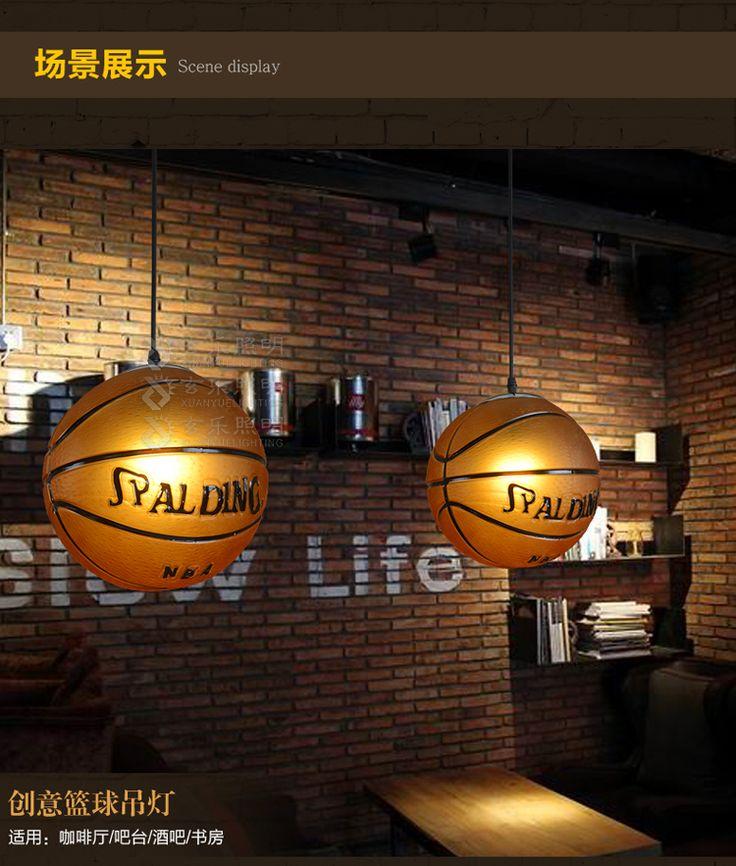 Олимпийский современный минималистский стеклянная люстра творческой личности Бар Кафе Ретро баскетбол люстра - Taobao