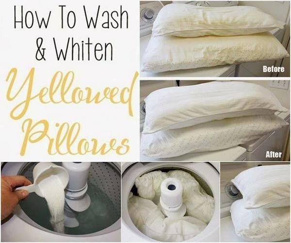 How to wash and whiten yellowed pillows --> http://wonderfuldiy.com/wonderful-tips-for-cleaning-yellow-pillows/  #diy #tips #homeidea
