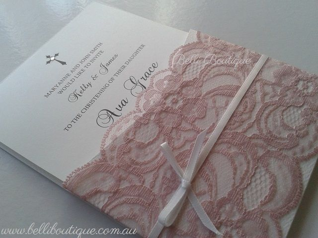 Baptism Invitation. Christening Invitation. 12cm x 17cm Dusty Pink Lace Pocket. Textured matte pocket/envelope with smooth matte white printed insert. Minimum 30 cards. Quantity discounts apply.