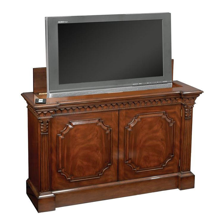 Mahogany Television Console ~ Mechanical device inside raises and lowers the TV