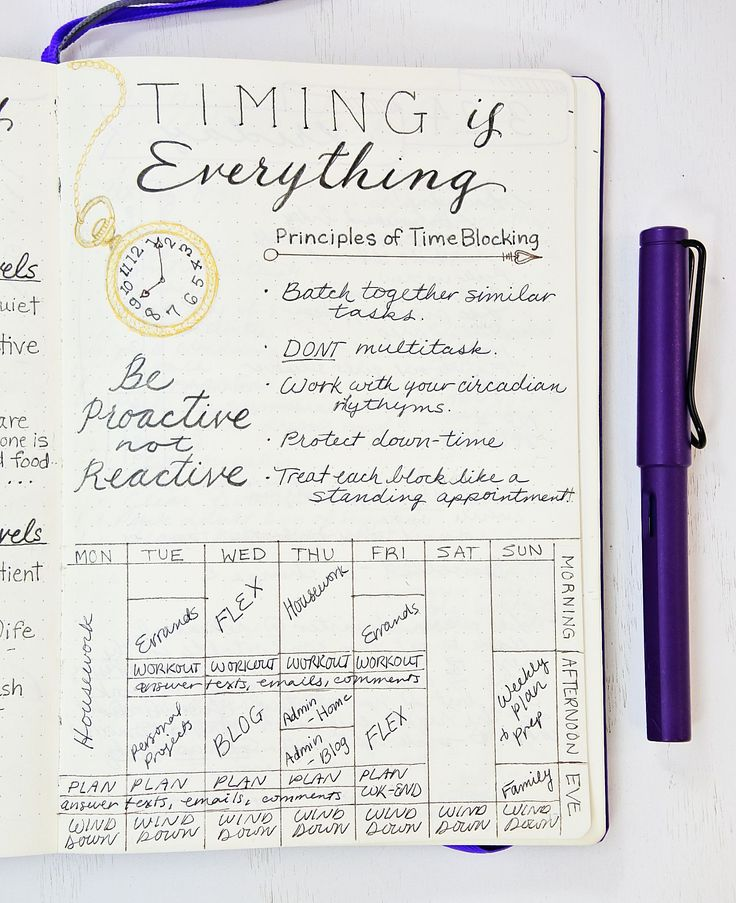 Time Blocking in a Bullet Journal