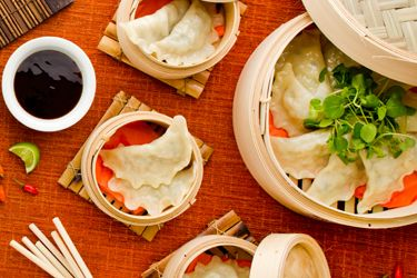 Crab, garlic chive and chestnut steamed dumplings