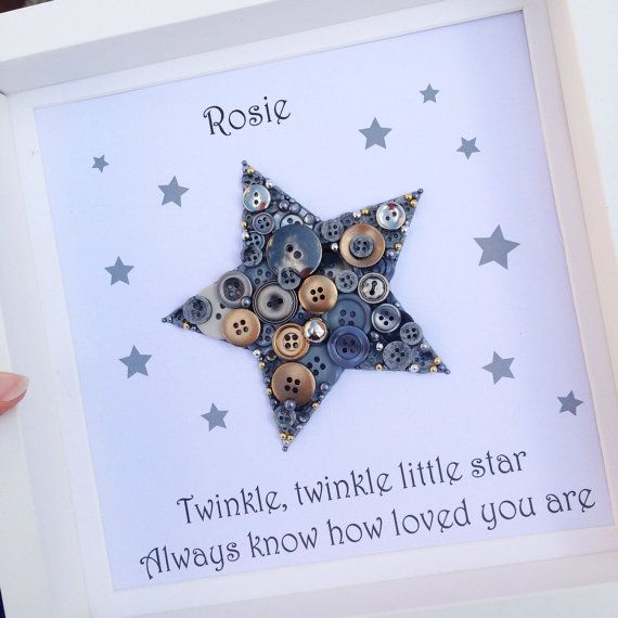 This beautiful star with personalised buttons makes the perfect keepsake for any member of the family. You can determine your own button colours and I am happy to incorporate any special requests you may have, (providing there is room to include them). All frames measure approximately 25cm x 25cm. From the date of order, your artwork will take between 1 and 2 weeks to complete. I will send an initial design proof by email which needs to be approved before the artwork is created. Delivery…