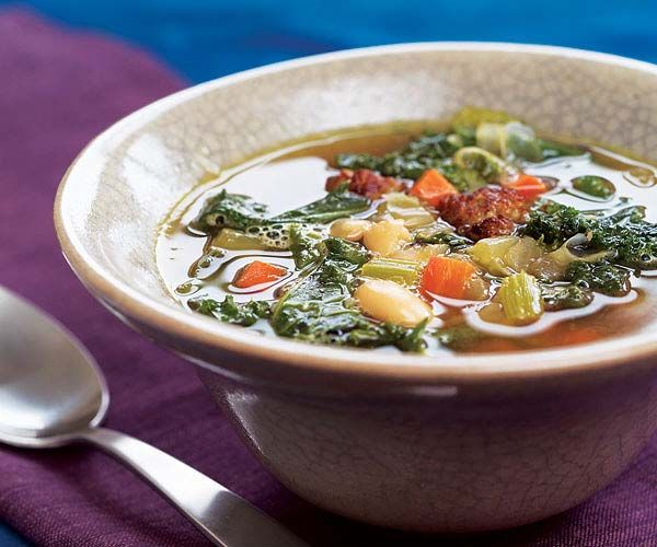 Mediterranean Kale & White Bean Soup with Sausage recipe