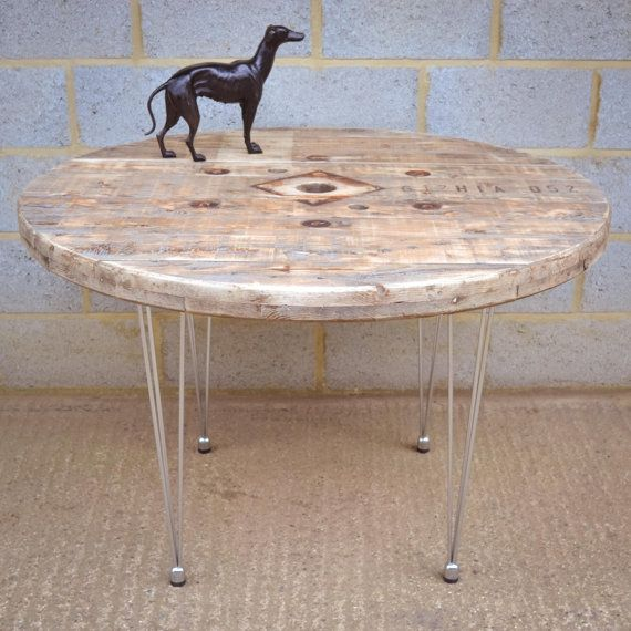 Round Wood Hairpin Coffee Table: Upcycled Cable Reel Dining Table /shop Display On Hairpin