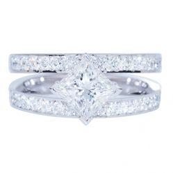 SALINA - SPLIT BAND PRINCESS CUT DIAMOND RING Split diamond encrusted bands frame this delectable princess cut diamond of unparalleled brilliance in luminous white gold.