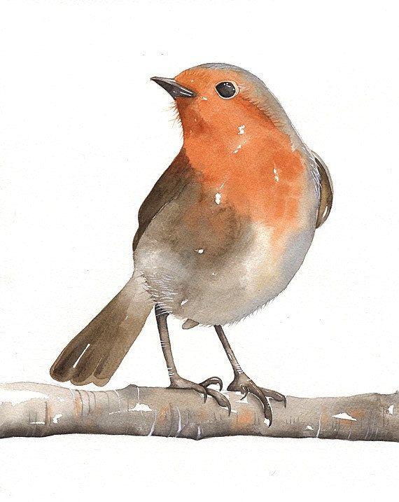 BIRD Original Watercolor Open edition Art Bird por lorisworld, $10.00