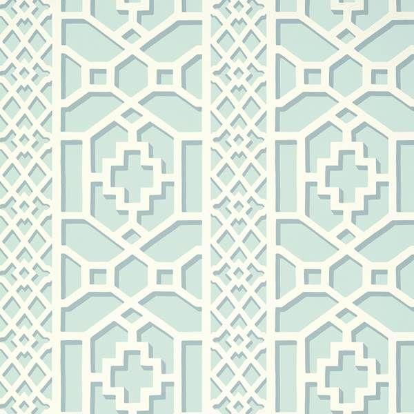 Trellis Background Wallpaper: Schumacher Zanzibar Trellis Winter Mint