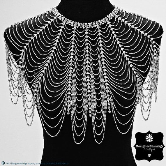 Rhinestone Epaulette Bridal Bib Shoulder by DESIGNERSHINDIGS