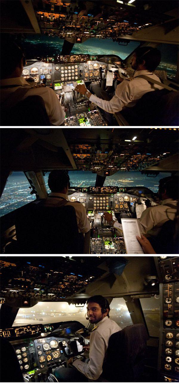 Night landing :: cockpit view of PIA Boeing 747 flight to King Abdulaziz International Airport