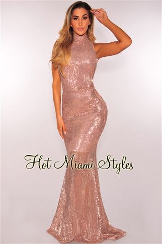 d3fca17ed7f You will leave them speechless in glamorous sequins the moment you walk  into the party in our latest favorite rose gold sequins lace up mermaid gown .