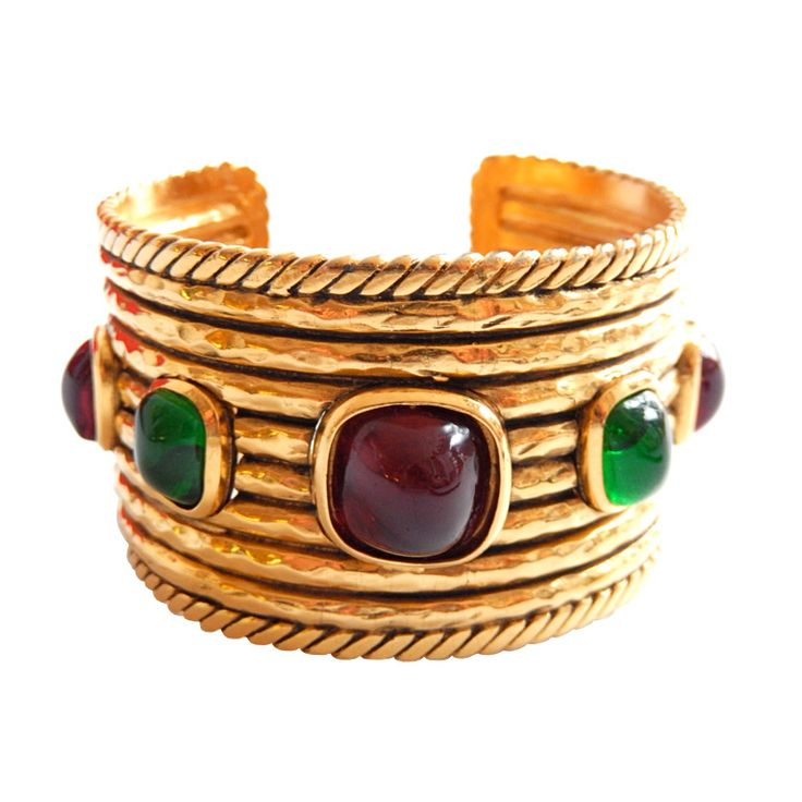 1984 Chanel Cuff with Gripoix Glass Cabochon Gemstones | From a unique collection of vintage cuff bracelets at https://www.1stdibs.com/jewelry/bracelets/cuff-bracelets/