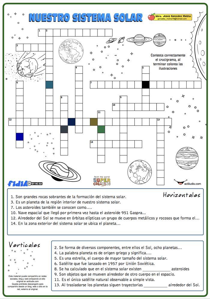 Crucigrama de nuestro sistema solar - Actiludis