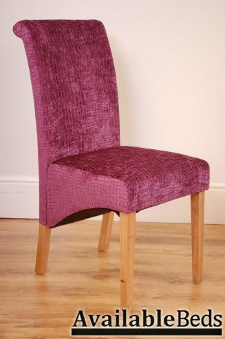 Milano High Ouality Upholstered Scroll Back Dining Chair - DUNDEE AMETHYST