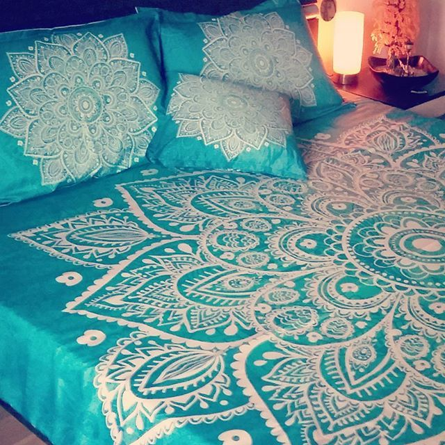 Turquoise green lace mandala boho bedding set to transform your space into extraordinary boho chic with a zen vibe. Check my other designs on www.artbedding.us #mandala #bohemianstyle #bedding #bohochic #bedroomdecor #bedspread #grunge #turquoise #vintage #interiordesign #inspiration #designer #hippie