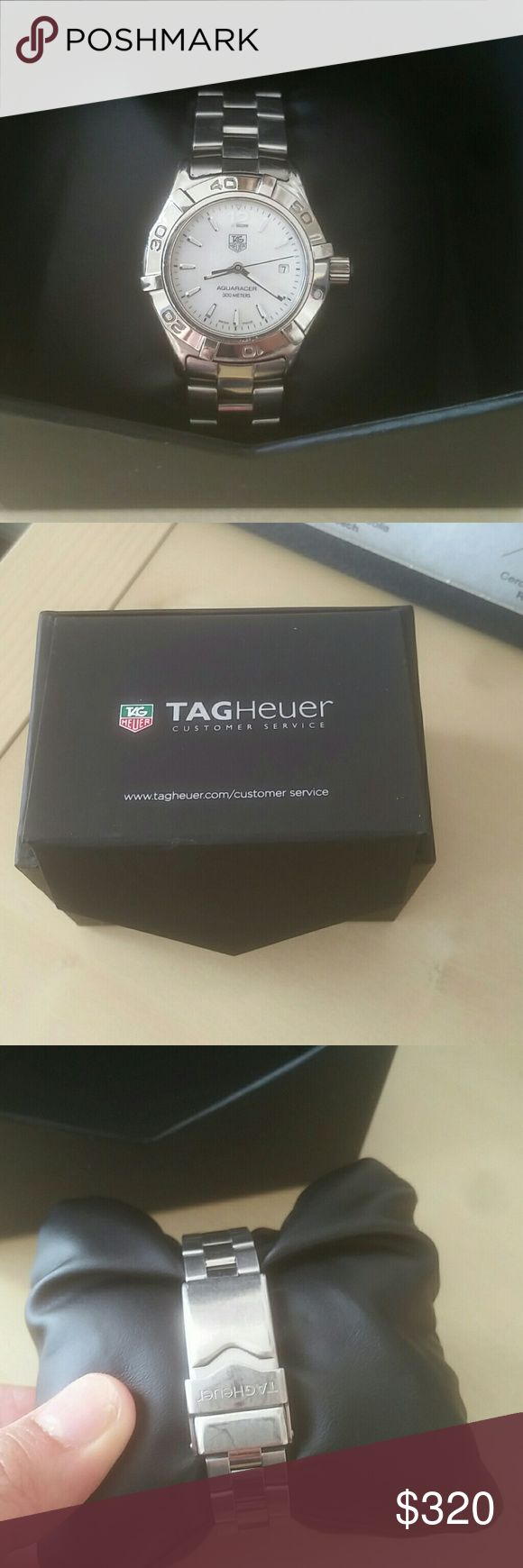 Tag Heuer Aquaracer Aquaracer 300 Meters  Mother of Pearl face 28 mm in diameter  I sent it in to Tag Heuer for authentication, and they suggested replacing the sapphire crystal for about $40, which I declined (I spent enough shipping it over with insurance) New battery put in 2/23/2017 Price is firm!!! Tag Heuer Accessories Watches