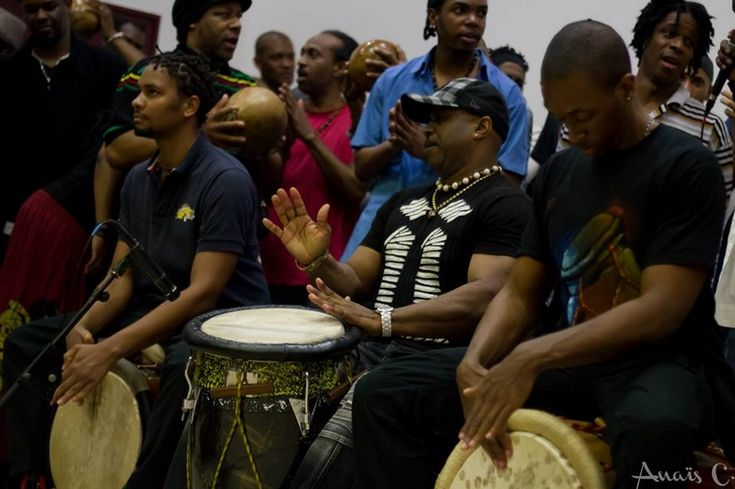 Drum gwoka players in Guadeloupe islands