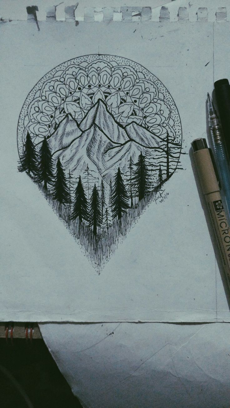 Lead me to the big rock. #drawing #mandala #mountain #forest #art