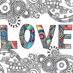 """Love"" by Hannah Davies - love the colored letters with the B&W doodles"