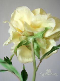 Лимонно-желтый пион из полимерной глины. Много фото. - Ярмарка Мастеров - ручная работа, handmade