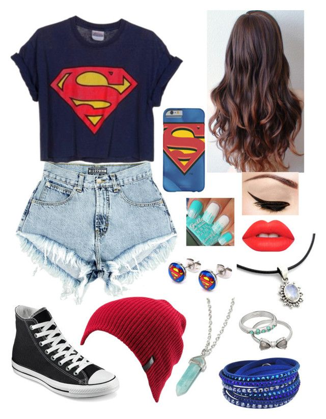 """""""Untitled #71"""" by bubblegumprincess831 on Polyvore featuring Converse, Mudd, Swarovski, Lime Crime and Volcom"""
