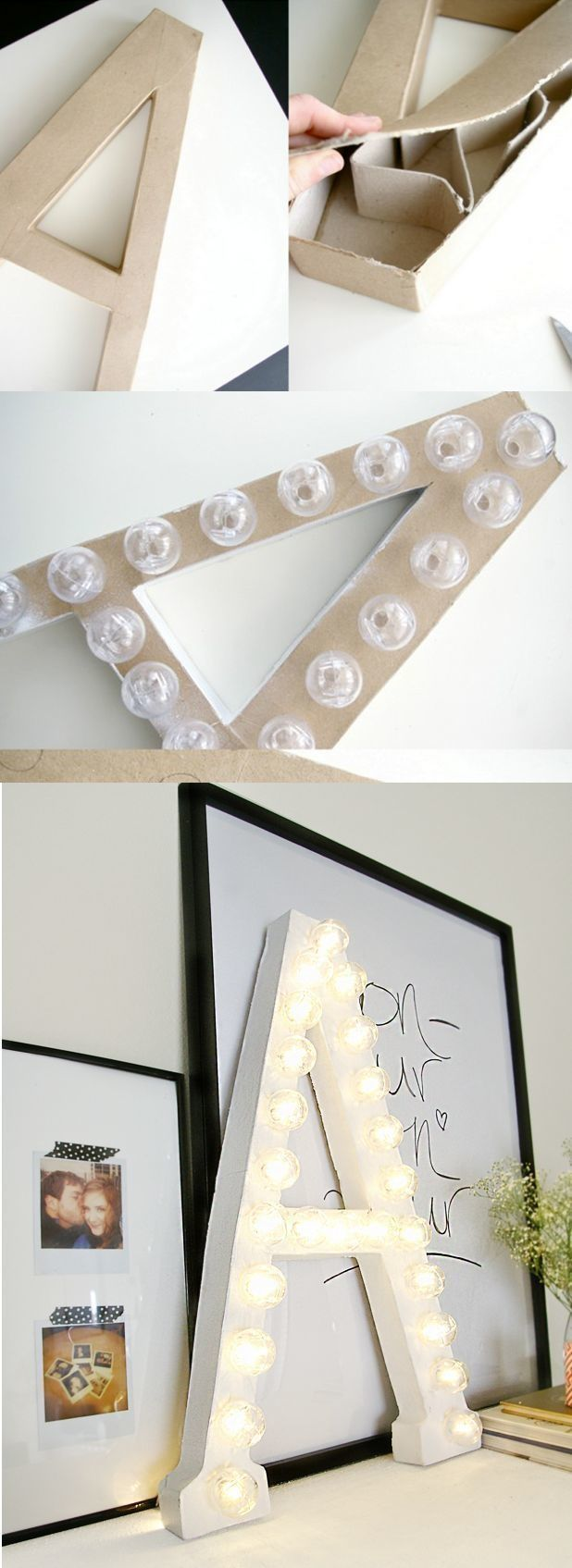AD-Amazingly-Pretty-Ways-To-Use-String-Lights-12Marquee letters are all the rage right now, but if you don't have the resources to snap up an expensive one at a flea market, try making one yourself instead.
