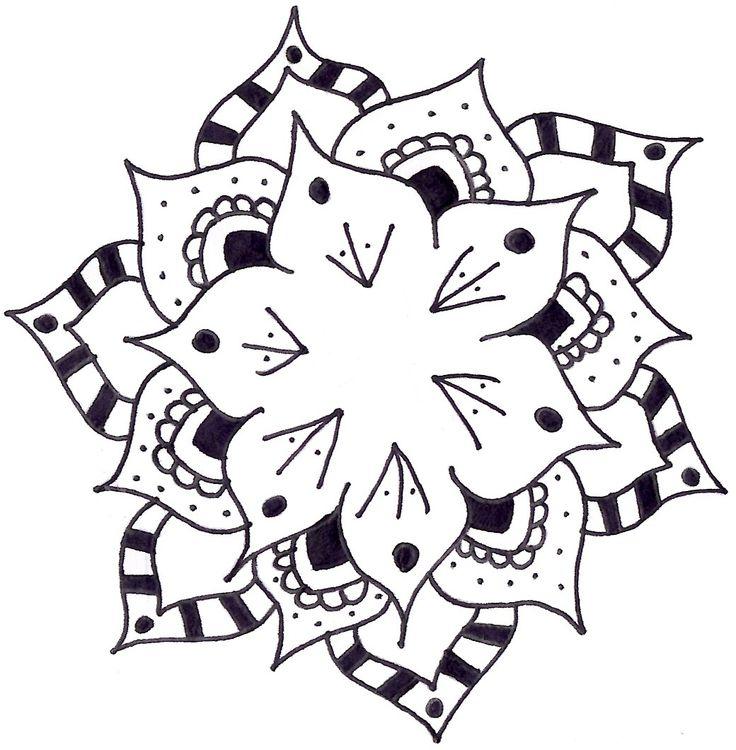 #Flower #Mandala #Drawing #Doodle #BlackAndWhite