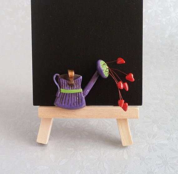 Purple red lime polymer clay brooch vintage look watering can by Lijoux