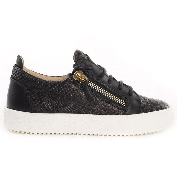 Giuseppe Zanotti May London Python-Print Leather Sneakers (10,185 MXN) ❤ liked on Polyvore featuring shoes, sneakers, nero, laced up shoes, black leather sneakers, snake print sneakers, lace up sneakers and black sneakers